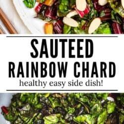 cooked rainbow chard on a plate with sliced almonds