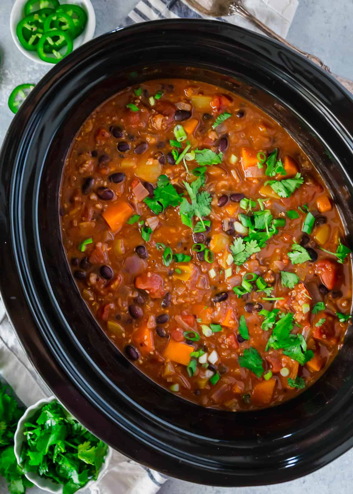 sweet potato and quinoa chili in slow cookers
