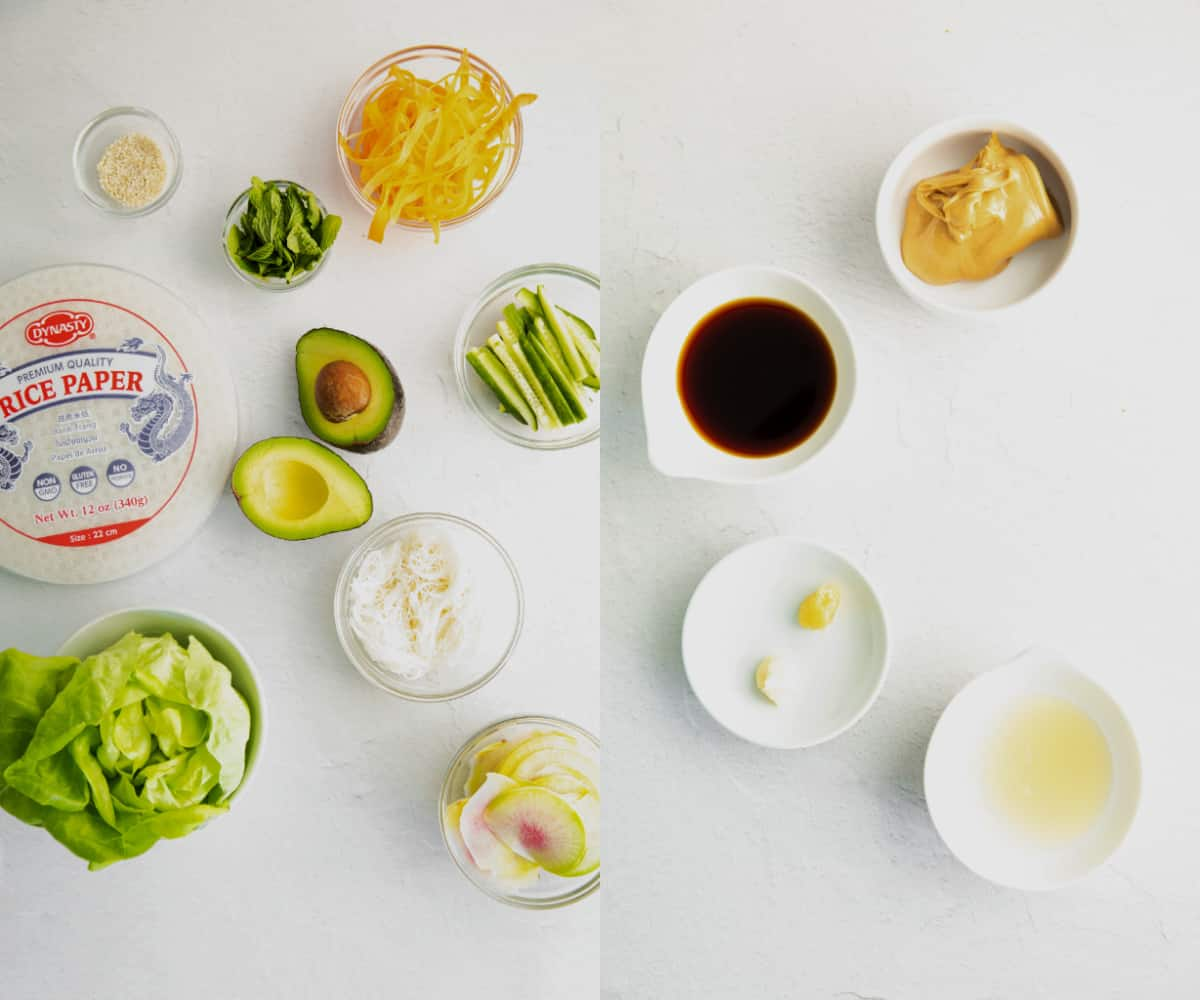 all ingredients for summer rolls on a white counter