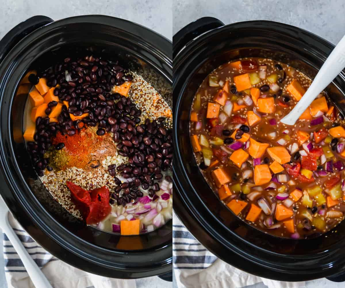 adding ingredients for chili to the slow cooker