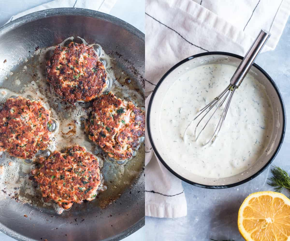 cooking salmon patties in a skillet
